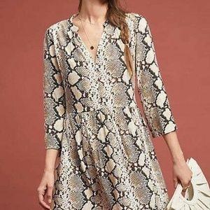 NEW Anthropologie Juno Snakeskin Printed Dress
